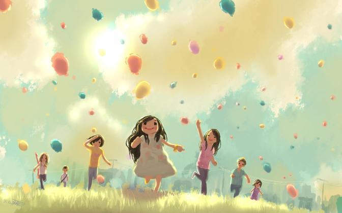 children_jump_run_grass_holiday_balloons