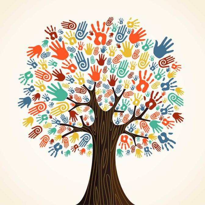 Isolated-diversity-tree-hands-illustration--Stock-Vector