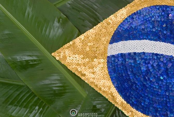 Sao Paulo, SP, Brasil    22/Julho/2005 Bandeira do Brasil estilizada, feita com folhas de bananeira e lantejoulas Foto Adri Felde/Argosfoto