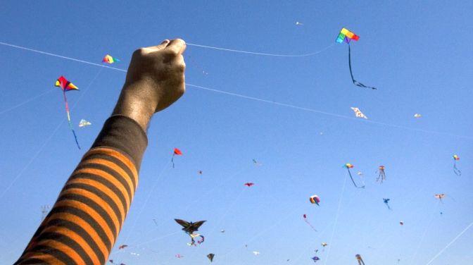 3/1/09 -  Jay Janner/AMERICAN-STATESMAN - Sai Dasika flies his kite at the Zilker Kite Festival on Sunday March 1, 2009.